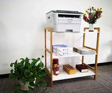 Küchenregal Mikrowellenhalter Standregal Holz mit 3 Ablagen Stilvoller Haushaltsregal für Küche Wohnzimmer Büro 78x70x37cm Weiß - 4