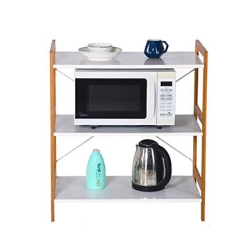 Küchenregal Mikrowellenhalter Standregal Holz mit 3 Ablagen Stilvoller Haushaltsregal für Küche Wohnzimmer Büro 78x70x37cm Weiß - 5