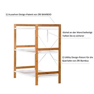 Küchenregal Mikrowellenhalter Standregal Holz mit 3 Ablagen Stilvoller Haushaltsregal für Küche Wohnzimmer Büro 78x70x37cm Weiß - 6