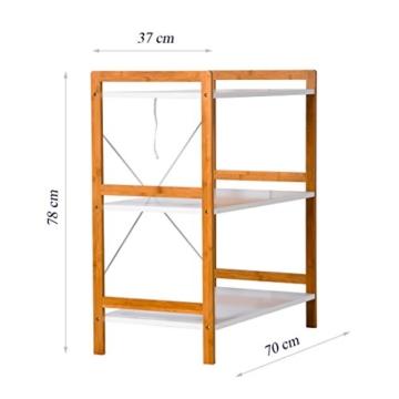 Küchenregal Mikrowellenhalter Standregal Holz mit 3 Ablagen Stilvoller Haushaltsregal für Küche Wohnzimmer Büro 78x70x37cm Weiß - 7