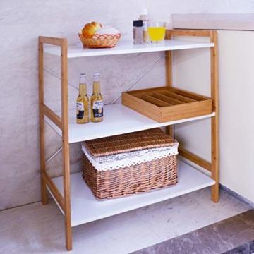 Küchenregal Mikrowellenhalter Standregal Holz mit 3 Ablagen Stilvoller Haushaltsregal für Küche Wohnzimmer Büro 78x70x37cm Weiß - 8