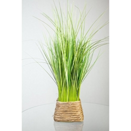 Kunstpflanze Grasbüschel Grün/Gelb im Korb 45 cm - 1