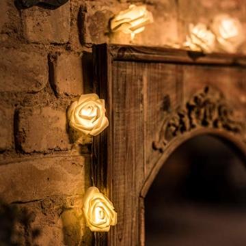 LED Rosen Lichterkette - 5 Meter Gesamtlänge | 20 LEDs warm-weiß - kein lästiges austauschen der Batterien | NICHT batterie-betrieben sondern mit Netzstecker | von CozyHome - 1