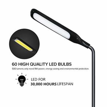 LED Stehlampe dimmbar mit Ferbedienung und Touchschalter NACATIN 9W Leselampe mit 5 Farbtemperaturen 5 Helligkeitsstufen 360° Drehfunktion Moderne Standleuchte für Wohnzimmer und Büro Schwarz - 2