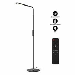 LED Stehlampe dimmbar mit Ferbedienung und Touchschalter NACATIN 9W Leselampe mit 5 Farbtemperaturen 5 Helligkeitsstufen 360° Drehfunktion Moderne Standleuchte für Wohnzimmer und Büro Schwarz - 1