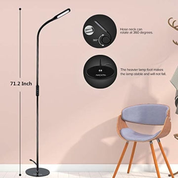 LED Stehlampe dimmbar mit Ferbedienung und Touchschalter NACATIN 9W Leselampe mit 5 Farbtemperaturen 5 Helligkeitsstufen 360° Drehfunktion Moderne Standleuchte für Wohnzimmer und Büro Schwarz - 4