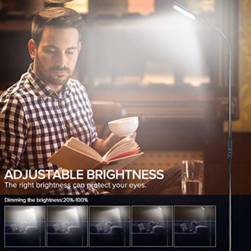LED Stehlampe dimmbar mit Ferbedienung und Touchschalter NACATIN 9W Leselampe mit 5 Farbtemperaturen 5 Helligkeitsstufen 360° Drehfunktion Moderne Standleuchte für Wohnzimmer und Büro Schwarz - 5