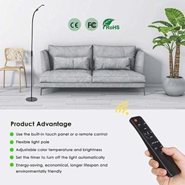 LED Stehlampe dimmbar mit Ferbedienung und Touchschalter NACATIN 9W Leselampe mit 5 Farbtemperaturen 5 Helligkeitsstufen 360° Drehfunktion Moderne Standleuchte für Wohnzimmer und Büro Schwarz - 7