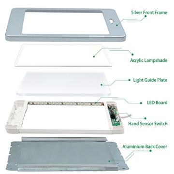 LED Unterbauleuchte Unterschrankleuchte Küche Flach 5W mit Berührungsloser Sensor Schalter Hohe Helligkeit 450Lm Beleuchtung Neutralweiß 4000K 1er Lampe und 1er Netzteil von Enuotek - 4
