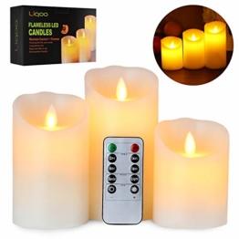 Liqoo 3er Set Flammenlose LED Kerzen Echtwachskerze mit beweglicher Flamme Timerfunktion mit Fernbedienung Elektrische Batteriebetriebene Kerze Lampe Schlafzimmer Geburtstags 10cm 12,5cm 15cm Hoch - 1