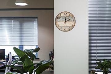 LOHAS Home 12 Zoll/30CM Holz Wanduhr/Küchenuhr im Landhausstil Stille Nicht-tickende für die Küche,Home Office, Wohnzimmer und Schlafzimmer (Victor Hugo) - 2