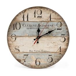 LOHAS Home 12 Zoll/30CM Holz Wanduhr/Küchenuhr im Landhausstil Stille Nicht-tickende für die Küche,Home Office, Wohnzimmer und Schlafzimmer (Victor Hugo) - 1