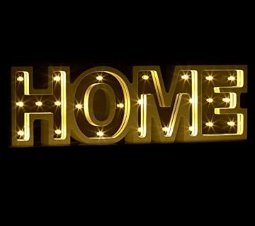 Lunartec Dekobuchstaben: LED-Schriftzug Home aus Holz & Spiegeln mit Timer & Batteriebetrieb (Deko-Buchstabe im Vintage Style) - 3
