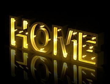 Lunartec Dekobuchstaben: LED-Schriftzug Home aus Holz & Spiegeln mit Timer & Batteriebetrieb (Deko-Buchstabe im Vintage Style) - 4