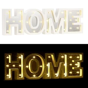 Lunartec Dekobuchstaben: LED-Schriftzug Home aus Holz & Spiegeln mit Timer & Batteriebetrieb (Deko-Buchstabe im Vintage Style) - 1