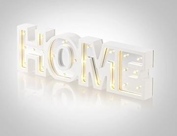 Lunartec Dekobuchstaben: LED-Schriftzug Home aus Holz & Spiegeln mit Timer & Batteriebetrieb (Deko-Buchstabe im Vintage Style) - 5