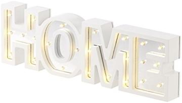 Lunartec Dekobuchstaben: LED-Schriftzug Home aus Holz & Spiegeln mit Timer & Batteriebetrieb (Deko-Buchstabe im Vintage Style) - 6