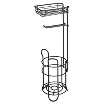 mDesign Toilettenpapierhalter – eleganter Papierrollenhalter aus Metall – WC-Rollen-Halter mit Regal – praktische Aufbewahrung fürs Badezimmer – mattschwarz - 4