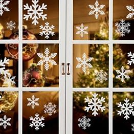 Naler 85 Schneeflocken Fensterbild Abnehmbare Fensterdeko Statisch Haftende PVC Aufkleber Winter Dekoration - 1