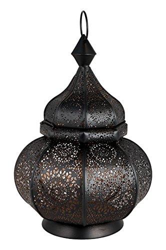 Orientalische Laterne aus Metall Ziva Schwarz 30cm | orientalisches Marokkanisches Windlicht Gartenwindlicht | Marokkanische Metalllaterne für draußen als Gartenlaterne, oder Innen als Tischlaterne - 2