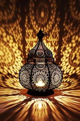 Orientalische Laterne aus Metall Ziva Schwarz 30cm | orientalisches Marokkanisches Windlicht Gartenwindlicht | Marokkanische Metalllaterne für draußen als Gartenlaterne, oder Innen als Tischlaterne - 1