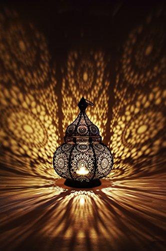 Orientalische Laterne aus Metall Ziva Schwarz 30cm | orientalisches Marokkanisches Windlicht Gartenwindlicht | Marokkanische Metalllaterne für draußen als Gartenlaterne, oder Innen als Tischlaterne - 4