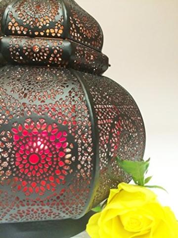 Orientalische Laterne aus Metall Ziva Schwarz 30cm | orientalisches Marokkanisches Windlicht Gartenwindlicht | Marokkanische Metalllaterne für draußen als Gartenlaterne, oder Innen als Tischlaterne - 5