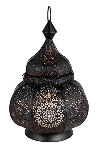 Orientalische Laterne aus Metall Ziva Schwarz 30cm | orientalisches Marokkanisches Windlicht Gartenwindlicht | Marokkanische Metalllaterne für draußen als Gartenlaterne, oder Innen als Tischlaterne - 6