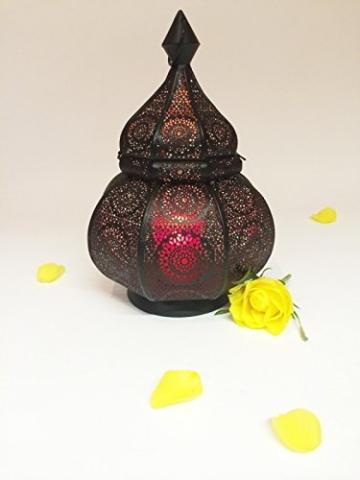 Orientalische Laterne aus Metall Ziva Schwarz 30cm | orientalisches Marokkanisches Windlicht Gartenwindlicht | Marokkanische Metalllaterne für draußen als Gartenlaterne, oder Innen als Tischlaterne - 7
