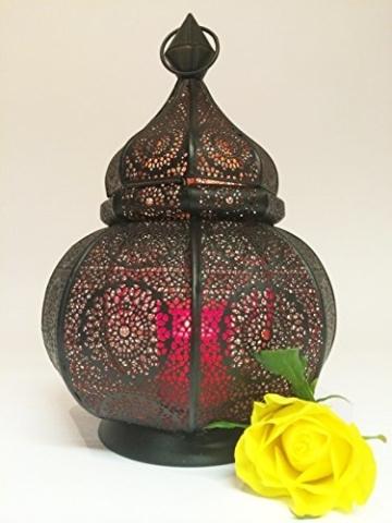 Orientalische Laterne aus Metall Ziva Schwarz 30cm | orientalisches Marokkanisches Windlicht Gartenwindlicht | Marokkanische Metalllaterne für draußen als Gartenlaterne, oder Innen als Tischlaterne - 8