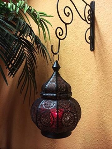 Orientalische Laterne aus Metall Ziva Schwarz 30cm | orientalisches Marokkanisches Windlicht Gartenwindlicht | Marokkanische Metalllaterne für draußen als Gartenlaterne, oder Innen als Tischlaterne - 9