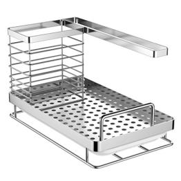 Oriware Spülbecken Organizer für die Küche Caddy Ordnungshelfer Küchenutensilienhalter Rostfreier Edelstahl – 25 x 15 x 15 cm - 1