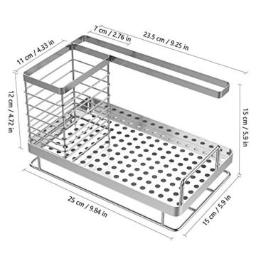 Oriware Spülbecken Organizer für die Küche Caddy Ordnungshelfer Küchenutensilienhalter Rostfreier Edelstahl – 25 x 15 x 15 cm - 5