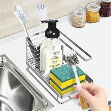 Oriware Spülbecken Organizer für die Küche Caddy Ordnungshelfer Küchenutensilienhalter Rostfreier Edelstahl – 25 x 15 x 15 cm - 6