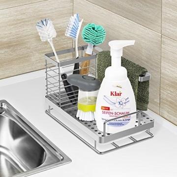 Oriware Spülbecken Organizer für die Küche Caddy Ordnungshelfer Küchenutensilienhalter Rostfreier Edelstahl – 25 x 15 x 15 cm - 7