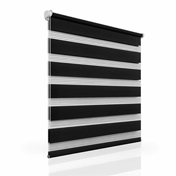 OUBO Doppelrollo Klemmfix ohne Bohren 70x 150 cm (BxH) Schwarz Fenster Duo Rollo - lichtdurchlässig und verdunkelnd Wandmontage Deckenmotage Sichtschutz Rollo mit Klemmträgern für Fenster & Tür - 3