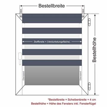 OUBO Doppelrollo Klemmfix ohne Bohren 70x 150 cm (BxH) Schwarz Fenster Duo Rollo - lichtdurchlässig und verdunkelnd Wandmontage Deckenmotage Sichtschutz Rollo mit Klemmträgern für Fenster & Tür - 4