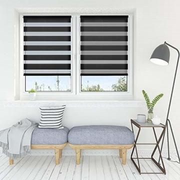 OUBO Doppelrollo Klemmfix ohne Bohren 70x 150 cm (BxH) Schwarz Fenster Duo Rollo - lichtdurchlässig und verdunkelnd Wandmontage Deckenmotage Sichtschutz Rollo mit Klemmträgern für Fenster & Tür - 5