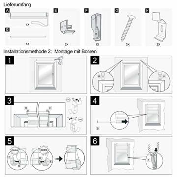 OUBO Doppelrollo Klemmfix ohne Bohren 70x 150 cm (BxH) Schwarz Fenster Duo Rollo - lichtdurchlässig und verdunkelnd Wandmontage Deckenmotage Sichtschutz Rollo mit Klemmträgern für Fenster & Tür - 7