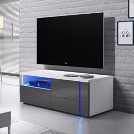 Oxy Single – TV-Lowboard/Fernsehschrank / Fernsehtisch mit Schrankfächern und Offenem Fach auf der Linken Seite (100 cm, in Grau/Weiß mit LED-Beleuchtung) - 1
