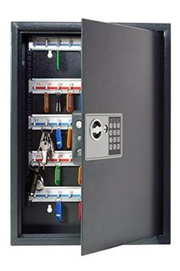 Pavo 8033911 Schlüssel-Kasten/Schrank/Tresor, High security mit elektronische Sicherung, 50 Haken mit seitlichem Schlüsseleinwurf, dunkelgrau - 1