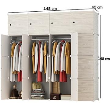 PREMAG Wood Pattern Portable Garderobe für hängende Kleidung, Kombischrank, modulare Schrank für platzsparende, Ideale Storage Organizer Cube für Bücher, Spielzeug, Handtücher (16 New) - 2