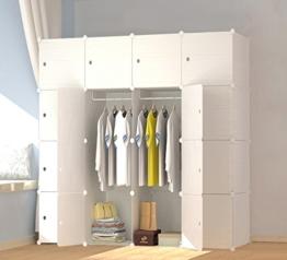 PREMAG Wood Pattern Portable Garderobe für hängende Kleidung, Kombischrank, modulare Schrank für platzsparende, Ideale Storage Organizer Cube für Bücher, Spielzeug, Handtücher (16 New) - 1