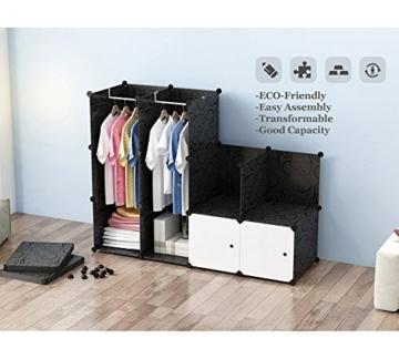 PREMAG Wood Pattern Portable Garderobe für hängende Kleidung, Kombischrank, modulare Schrank für platzsparende, Ideale Storage Organizer Cube für Bücher, Spielzeug, Handtücher (16 New) - 4