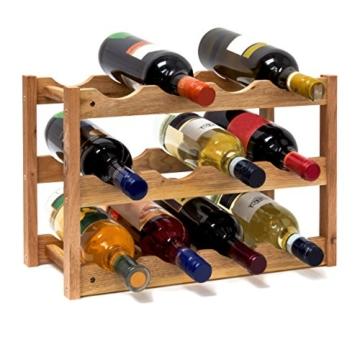 Relaxdays 10019279 Weinregal klein 28 x 42,5 x 21 cm Holz Flaschenregal mit 3 Ebenen für 12 Flaschen Wein Kleiner Weinflaschenhalter aus Walnuss geölt zur waagerechten Lagerung, natürlich - 1