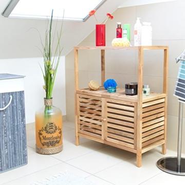Relaxdays Badschrank Holz mit 3 Ablagen, breites Badregal, Walnuss Regal f. Bad u. Küche, HxBxT: 86 x 68 x 36 cm, natur - 2