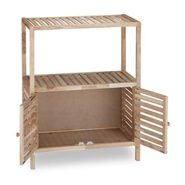 Relaxdays Badschrank Holz mit 3 Ablagen, breites Badregal, Walnuss Regal f. Bad u. Küche, HxBxT: 86 x 68 x 36 cm, natur - 3