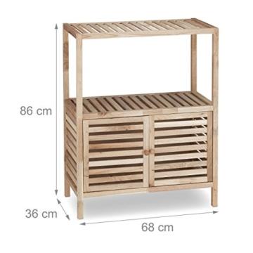 Relaxdays Badschrank Holz mit 3 Ablagen, breites Badregal, Walnuss Regal f. Bad u. Küche, HxBxT: 86 x 68 x 36 cm, natur - 4