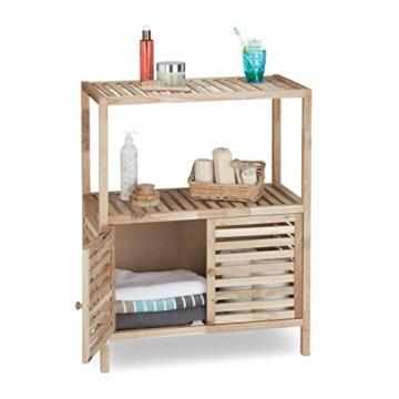 Relaxdays Badschrank Holz mit 3 Ablagen, breites Badregal, Walnuss Regal f. Bad u. Küche, HxBxT: 86 x 68 x 36 cm, natur - 1