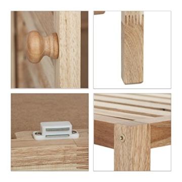 Relaxdays Badschrank Holz mit 3 Ablagen, breites Badregal, Walnuss Regal f. Bad u. Küche, HxBxT: 86 x 68 x 36 cm, natur - 5